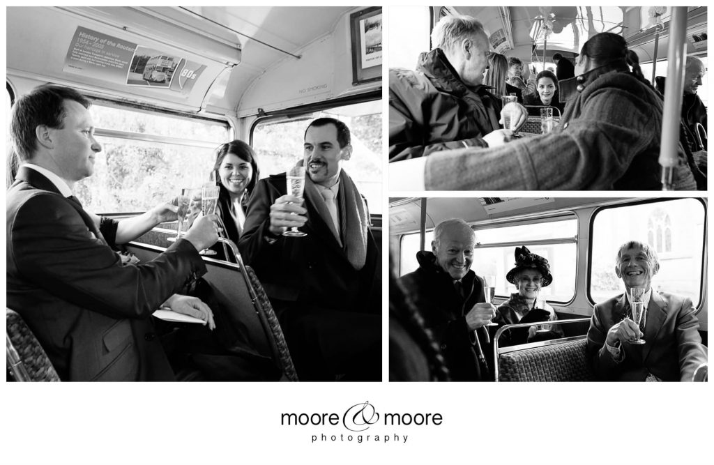Weddings at Westminster Boating Base - photographs of guests on London Bus