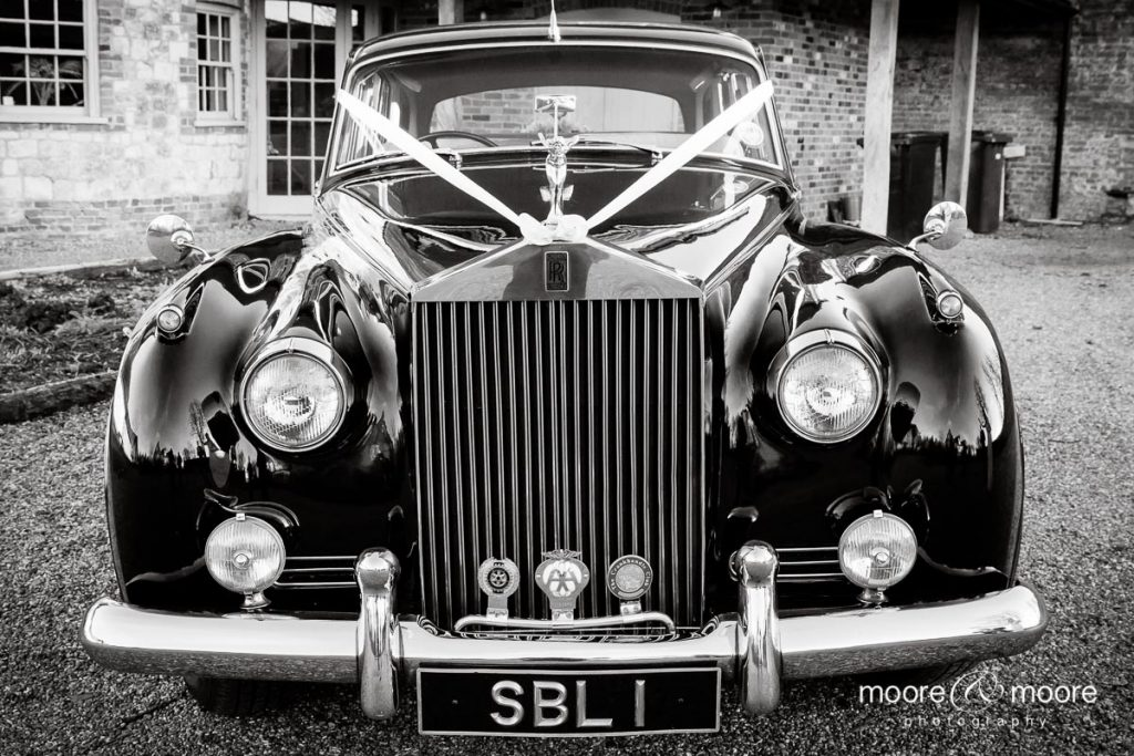 moore&moore photography photograph weddings at Bury Court - Rolls Royce wedding car