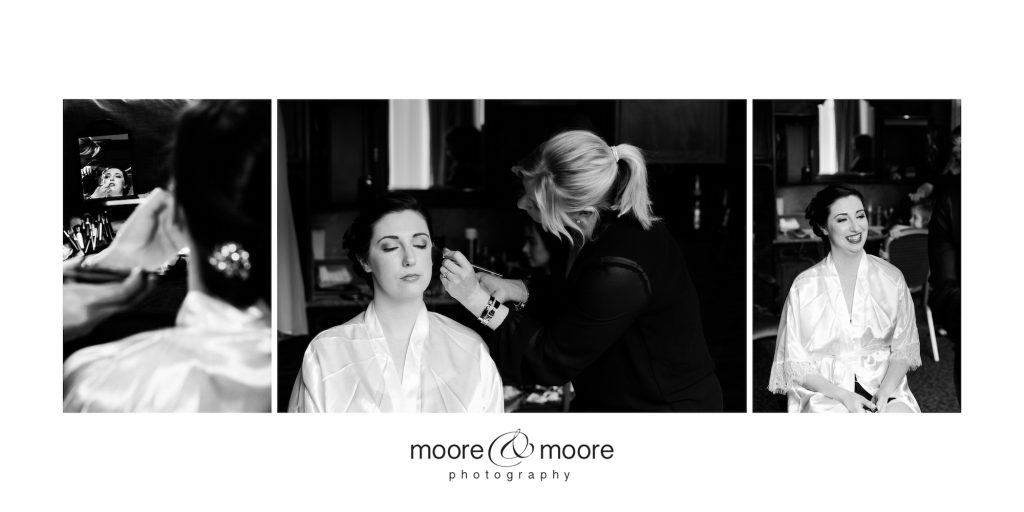 Bride Makeup and preparations for a Wedding Day. Frimley Hall Hotel Wedding Photography by moore&moore photography