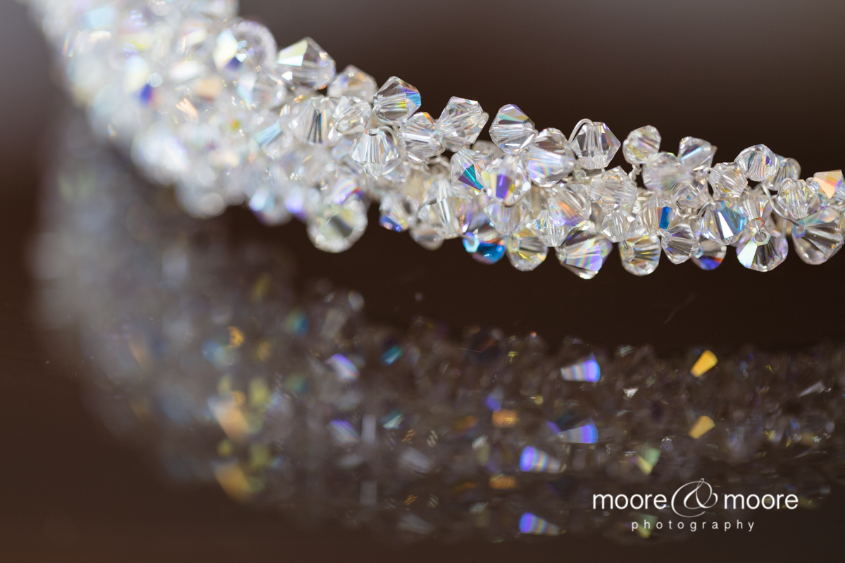 In detail, close up image of the sparkling tiara at the Hampshire Court Hotel, wedding photography by moore&moore photography