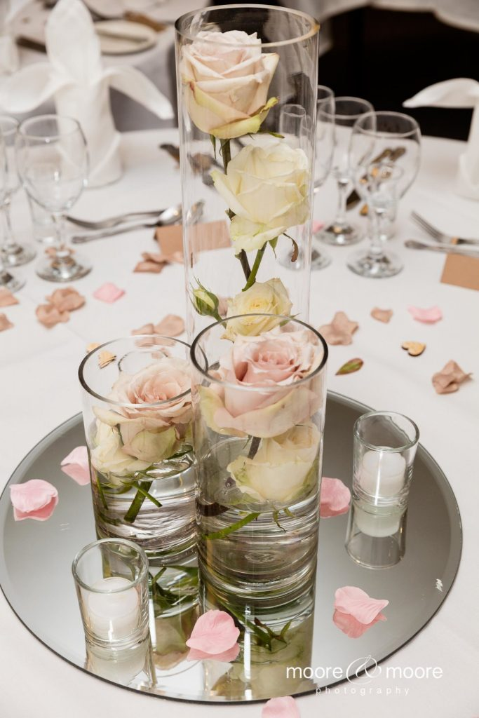 Weddings at the Lismoyne Hotel; wedding table decoration photograph by moore&moore photography