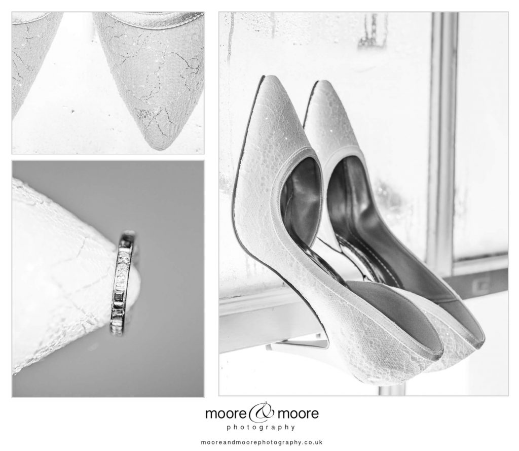 Weddings at Westminster boating base - photograph of bride's shoes