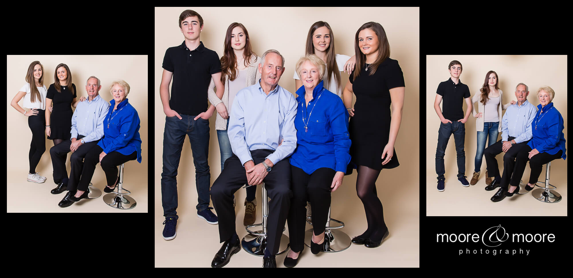 Group Portraits in Photo Session for family generations by Photographer Hampshire, moore&moore photography